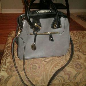 London FogBlack/Gray Croc skin purse